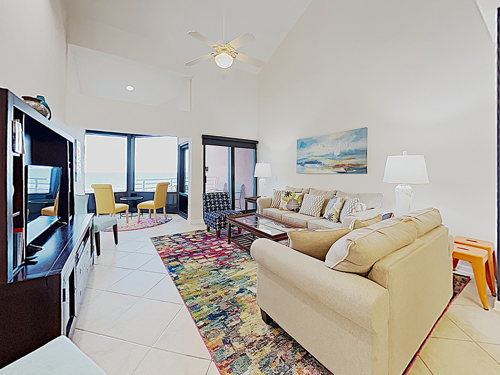 Living room at a beachfront condo