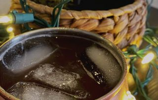 Holiday cocktail mule recipe for celebrating holidays at the beach