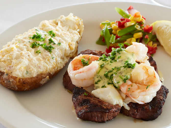 Steak and shrimp from Louisiana Lagniappe